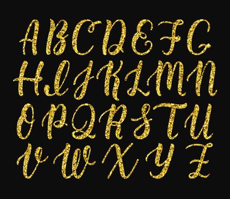Handwritten latin calligraphy brush script of capital letters handwritten latin calligraphy brush script of capital letters gold glitter alphabet vector illustration stock thecheapjerseys Images
