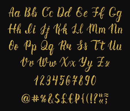 majuscule: Handwritten latin calligraphy brush script with numbers and symbols. Gold glitter alphabet. Vector illustration Illustration