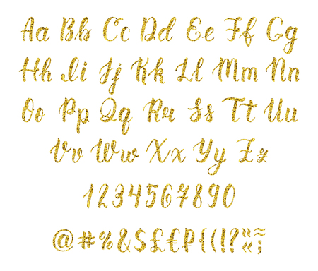 majuscule: Handwritten latin calligraphy brush script with numbers and punctuation marks. Gold glitter alphabet. Vector illustration Illustration