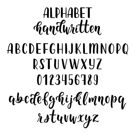 majuscule: Hand drawn latin calligraphy brush script with numbers and symbols.