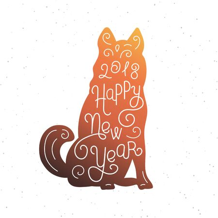 Happy New Year. Silhouette hand lettering. Chinese calendar symbol of 2018 year. Brown dog. Holiday design, art print for posters, greeting cards design. Vector illustration