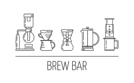Brew bar. Set vector black line icons of coffee brewing methods. Siphon, pour over, french press, aeropress. Flat design. Vector illustration Çizim