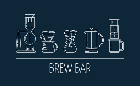 Set of line white icons of coffee brewing methods. Flat design. Brew bar. Siphon, pour over, , french press, aeropress. Vector illustration Vettoriali