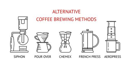 Alternative Kaffeezubereitungsmethoden. Stellen Sie die schwarzen Liniensymbole des Vektors ein. Siphon, übergießen, French Press, Aeropress. Flaches Design. Vektorillustration Vektorgrafik