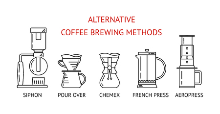 Metodi alternativi di preparazione del caffè. Impostare le icone della linea nera di vettore. Sifone, versa sopra, stampa francese, aeropress. Design piatto. Illustrazione vettoriale Vettoriali