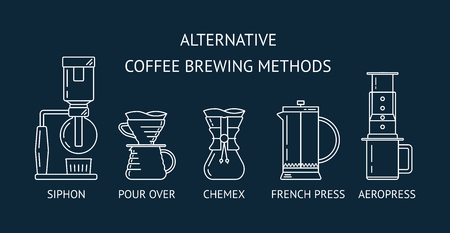 Alternative coffee brewing methods. Set vector white line icons. Siphon, pour over, , french press, aeropress. Flat design. Vector illustration
