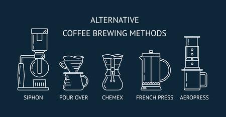Métodos alternativos de preparación de café. Establecer iconos vectoriales de línea blanca. Sifón, vertido, prensa francesa, aeropress. Diseño plano. Ilustración vectorial Foto de archivo - 104995342