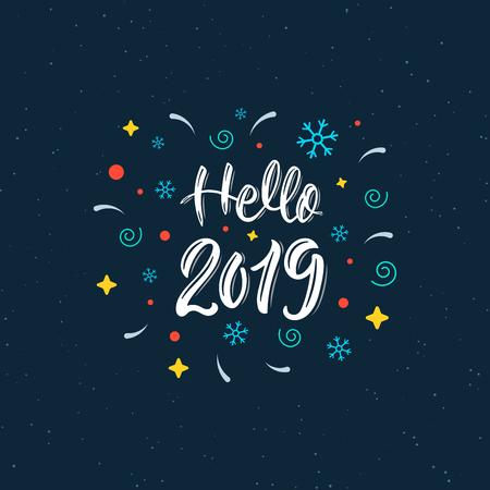 Hallo 2019 Trendy Hand Schriftzug Zitat mit dekorativen Elementen, Modegrafiken, Kunstdruck für Plakate und Grußkarten Design. Kalligraphisches Zitat in weißer Tinte. Vektorillustration