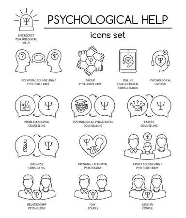 Psychological help. Set of linear icons symbols for psychology counseling, consulting, psychotherapy. Flat design. Vector