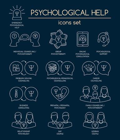 Psychologische Hilfe. Reihe von linearen weißen Symbolen für psychologische Beratung, Beratung, Psychotherapie. Flaches Design. Vektor Vektorgrafik