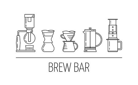 Brew bar. Set of vector black linear icons about coffee brewing methods. Siphon, pour over, french press, aeropress. Flat design. Vector Reklamní fotografie - 124558900