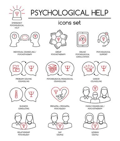 Ayuda psicológica. Conjunto de símbolos de iconos lineales para asesoramiento psicológico, consultoría, psicoterapia. Negro y rojo. Diseño plano. Ilustración vectorial