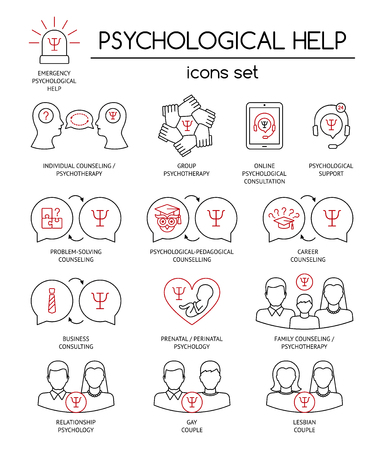 Psychological help. Set of linear icons symbols for psychology counseling, consulting, psychotherapy. Black and red. Flat design. Vector illustration