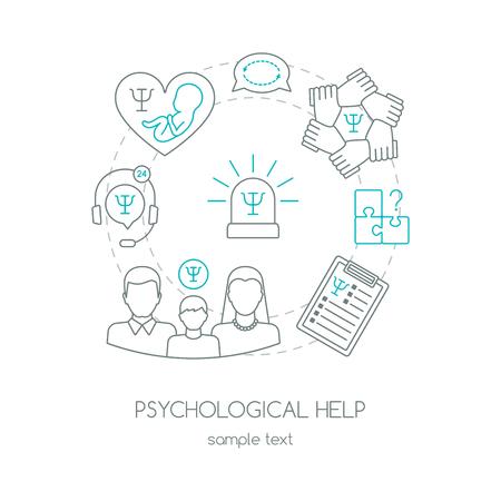 Cartel o pancarta de ayuda de psicología. Diseño plano. Ilustración vectorial