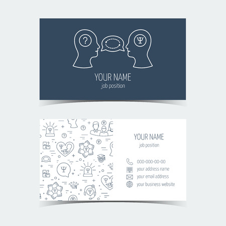 Business cards for psychology help. Promotional products. Flat design. Vector illustration