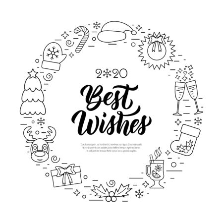 Best wishes modern calligraphy quote with Christmas holidays frame with traditional attributes in line icon style. Vector illustration Archivio Fotografico - 134423709