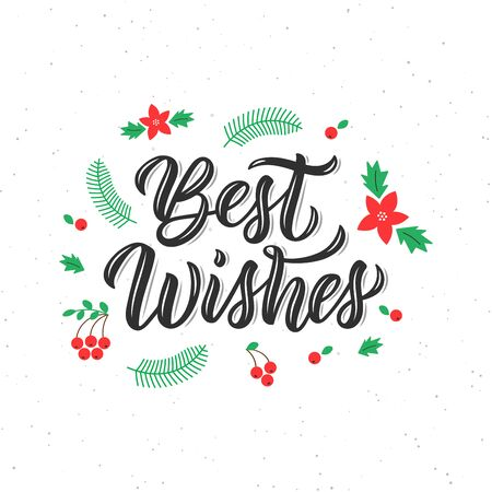 Best wishes brush lettering inscription with decorative elements. Calligraphic quote, art print for posters, greeting cards design. Vector illustration Archivio Fotografico - 134424355