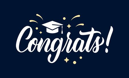 Congrats. Graduation congratulations at school, university or college. Trendy calligraphy inscription in white ink with decorative elements. Vector illustration