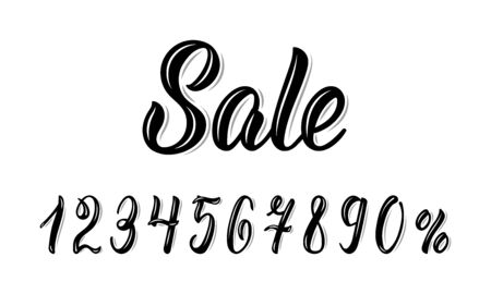 Sale. Modern calligraphy word Sale with numbers in black ink. Vector illustration