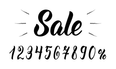 Sale. Modern hand lettering word Sale with numbers in black ink. Vector illustration