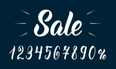 Sale. Modern hand lettering word Sale with numbers in white ink. Vector illustration