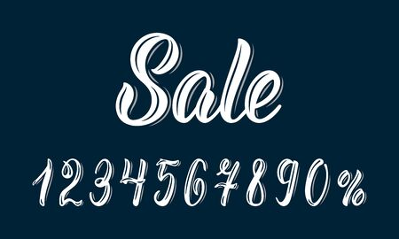 Sale. Modern calligraphy word Sale with numbers in white ink. Vector illustration