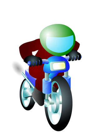 Biker goes somewhere on motorcycle.Isolated Vector Illustration