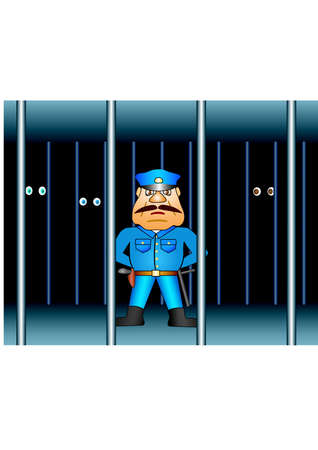 inmate: Prison proctor. Background Vector Illustration Illustration