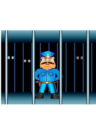 slammer: Prison proctor. Background Vector Illustration Illustration