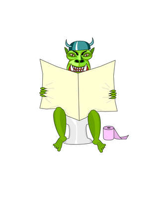 Monster sits in toilet and reads newspaper. Isolated Vector Illustration Vector