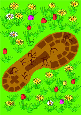 Footprint on grass. Ecologic theme. Vector Illustration Stock Vector - 5172175