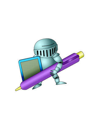 stylus: Knight with stylus and tablet. Isolated Vector Illustration