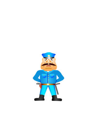 Policeman with gun.Isolated Vector Illustration. Vector