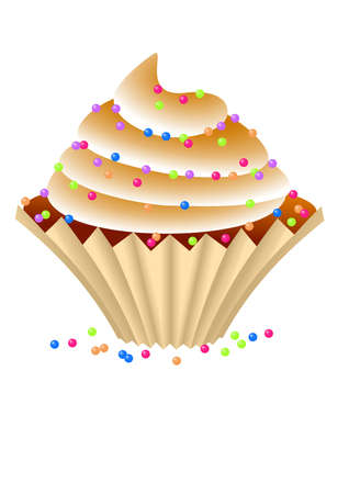 appetite: Cupcake with a chocolate cream.Isolated Vector Illustration