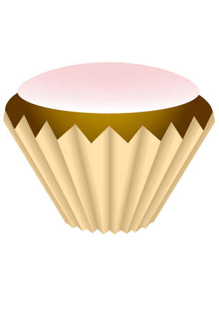 Cupcake with pink glaze in the paper wrapper. Isolated Vector Illustration Vector