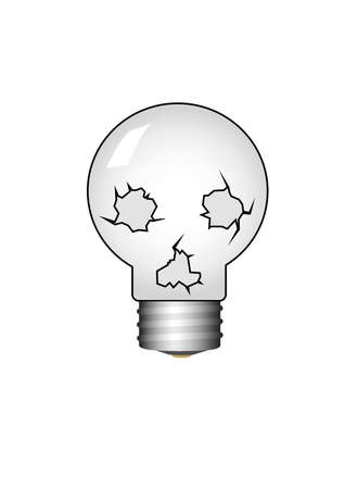 black people: skull-bulb.Isolated Vector Illustration