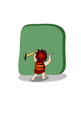 Caveman.Isolated Illustration Vector