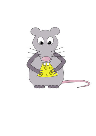sniff: Rat eats cheese.Isolated Vector Illustration
