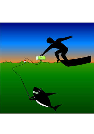 siluet: Human tries to take money, but shark tries to eat him. Vector Background Illustration Illustration