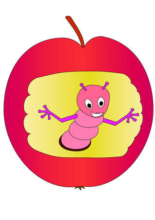 dangle: worm in apple. Isolated Vector Illustration