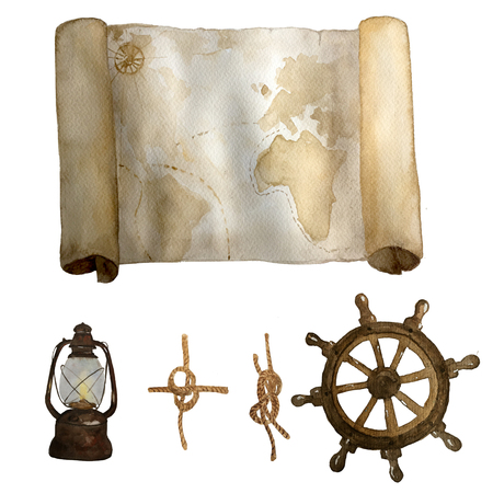Watercolor vintage nautical old map with retro latern and knots and navigation circle hand drawn isolated on white. For cards, invitations and afishas. Stock Photo