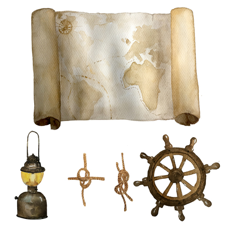 Watercolor vintage nautical set of old map, sea knots and retro latern steering wheel hand drawn isolated on white. For cards, invitations and afishas.