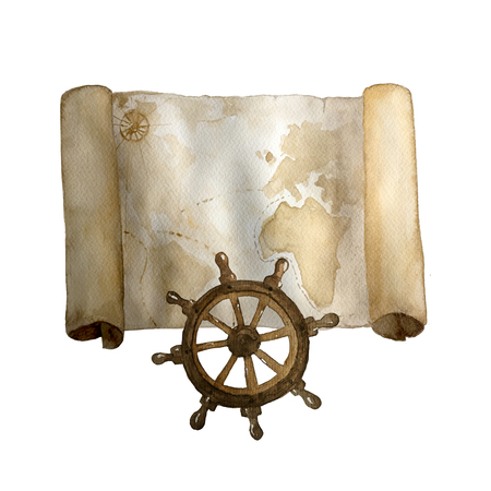 Watercolor vintage nautical old map with retro steering wheel hand drawn isolated on white. For cards, invitations and afishas. Stock Photo