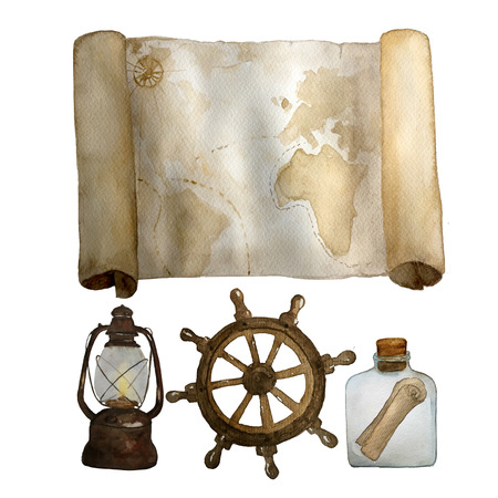 Watercolor vintage nautical set of old map, sea bottle with scroll and retro latern steering wheel hand drawn isolated on white. For cards, invitations and afishas.