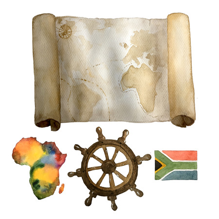 Watercolor vintage nautical set of old map, sea steering wheel and colorful Africa continent and flag hand drawn isolated on white. For cards, invitations and afishas. Zdjęcie Seryjne