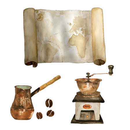 Watercolor vintage set of nautical old map, coffee grinder, coffee beans and cezve hand drawn isolated on white. For cards, invitations and afishas .