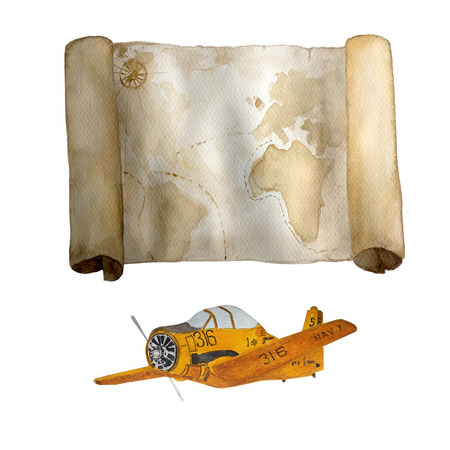 Watercolor vintage nautical old map with retro yellow airplane hand drawn isolated on white. For cards, invitations and afishas.