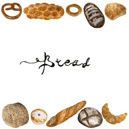 Bread, bakery product watercolor drawing set. Fresh loaf of bread, baguette, croissant, cupcake, toast, burger and sweet bun, pretzel and challah. Natural organic bread, bakery shop design Stock Photo
