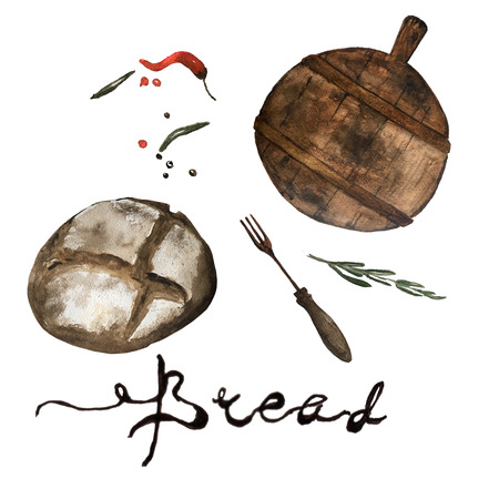 Bakery product watercolor hand drawn loafs of bread with retro fork , cutting board and spices. Natural organic bread, bakery shop design Stock Photo