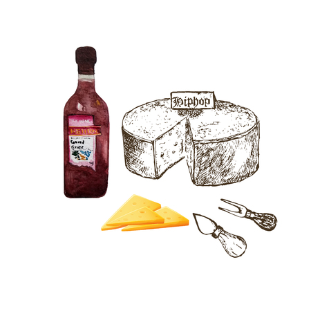 Cheese collection with watercolor wine bottle . Hand drawn illustration of cheese types . Sketch isolated on whitefor menus and stickers